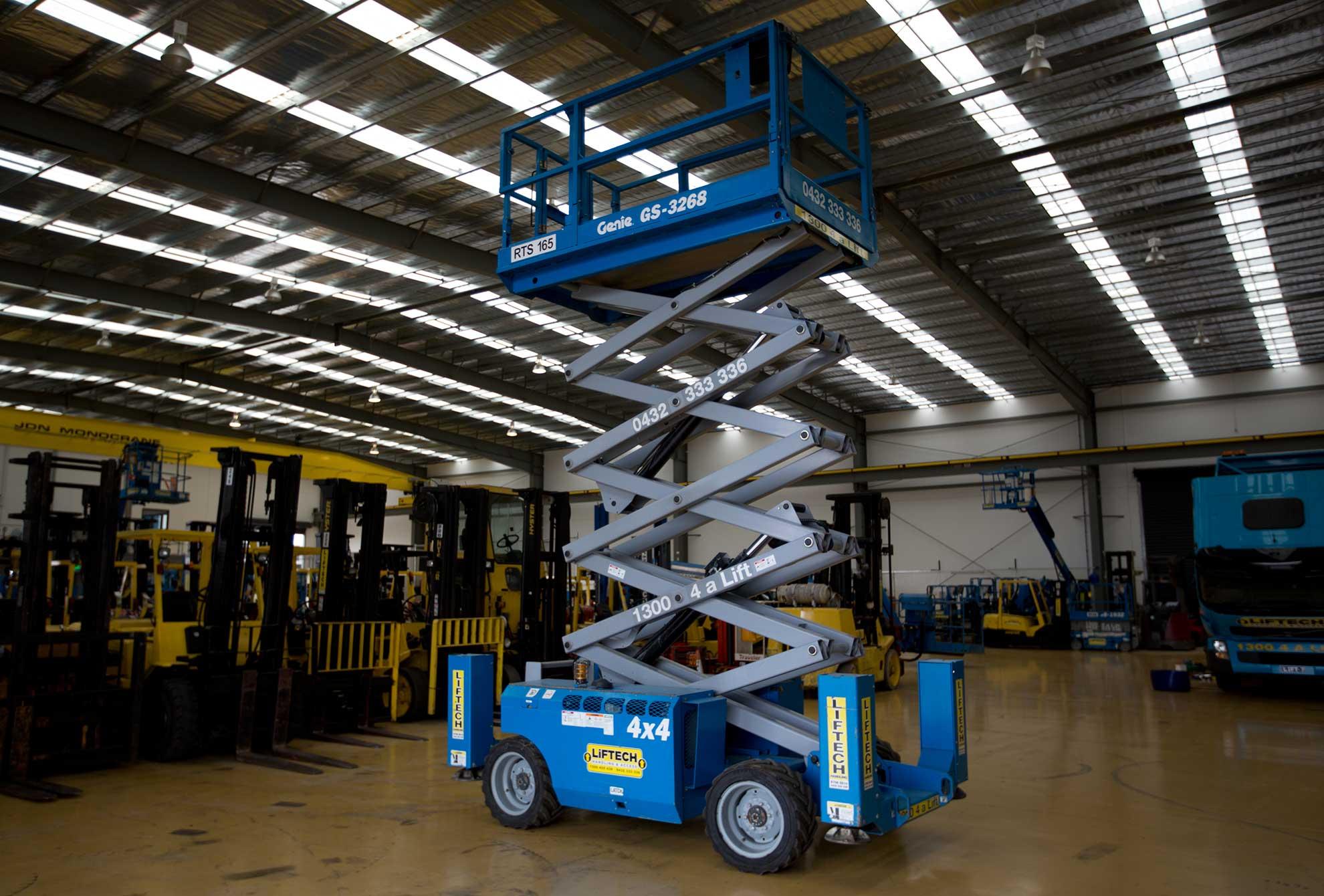 10m Rough Terrain Scissor Lift for Hire Melbourne
